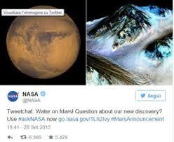Tweet Nasa su Marte